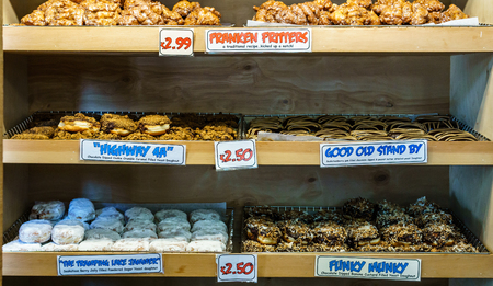Various delicious doughnuts in a bakery shop on Vancouver island