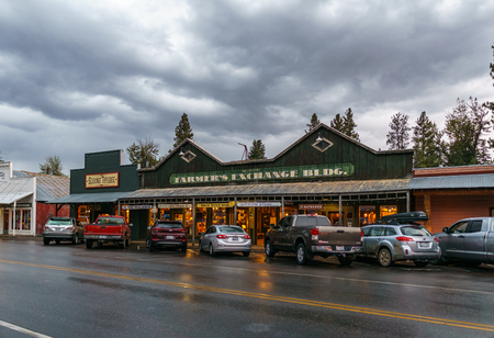 Winthrop, USA - September 15, 2018 : street view small town in north of Washington state touristic destination.