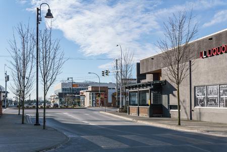 SURREY, CANADA - February 10, 2019: Strip mall or shopping plaza in South Surrey Sunnyside neighbourhood