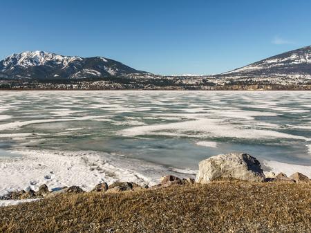 early spring landscape of frozen Columbia Lake Regional District of East Kootenay Canada Reklamní fotografie