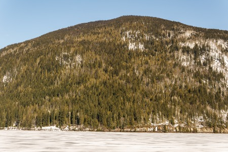 early spring landscape of frozen Three Valley Lake Regional District of Columbia-Shuswap Canada