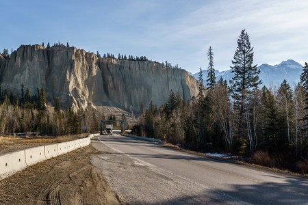Straight road to the snow mountains in Regional District of East Kootenay Canada