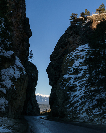 highway pass through the Rocky Mountains Sinclair Canyon near Radium Hot Springs Canada