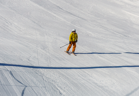 KIMBERLEY, CANADA - MARCH 22, 2019: Mountain Resort view early spring people skiing Sajtókép