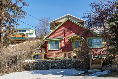 KIMBERLEY, CANADA - MARCH 22, 2019: colorful beautiful house in small town