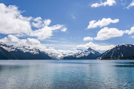 view at Garibaldi lake beautiful sunny morning with clouds on bluew sky