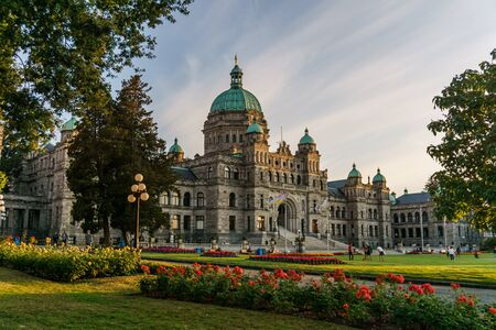 VICTORIA, CANADA - JULY 13, 2019: parliament building in the city center of Victoria historical and travel destination Editorial