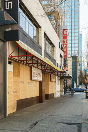 VANCOUVER, CANADA - APRIL 07, 2020: downtown temporarily suspending operations of retail stores covid-19 pandemic.