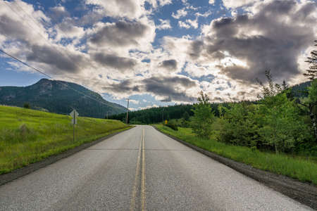 meadow near the road to the mountain under cloudy sky british columbia canada 免版税图像