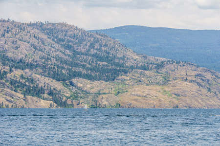 Okanagan lake view at summer time with blue sky british columbia canada
