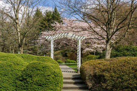 White wooden arched entrance to city garden green grass and bushes spring time