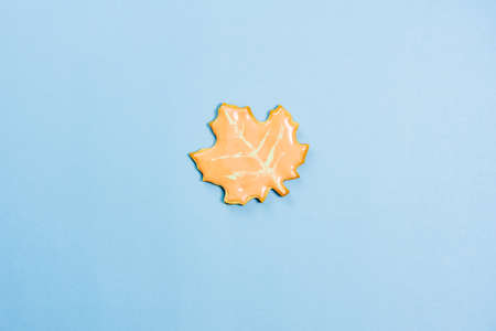 Sweet homemade leaf cookie with icing isolated on blue background minimal flat lay composition.