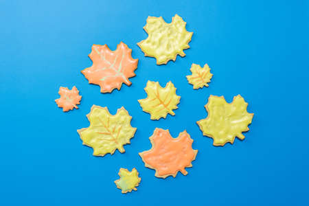 Sweet homemade leaf cookie with icing isolated on dark blue background flat lay composition.
