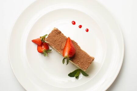 cottage cheese and coffee pudding with strawberries Stockfoto