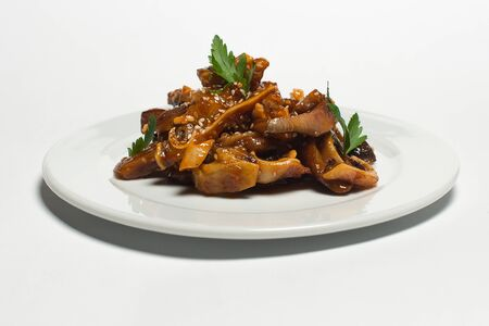pork snack in sweet beer sauce on a white plate