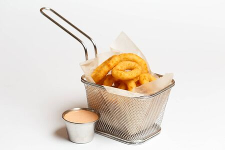 squid rings or deep-fried onion rings