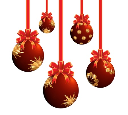 The Christmas ornaments lights balls on the white background Stock Photo - 9783351