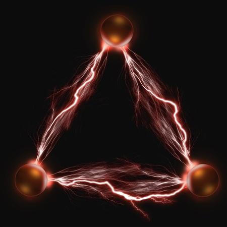 descarga electrica: Las tres bolas de cobre el�ctricas. El concepto de energ�a y poder.