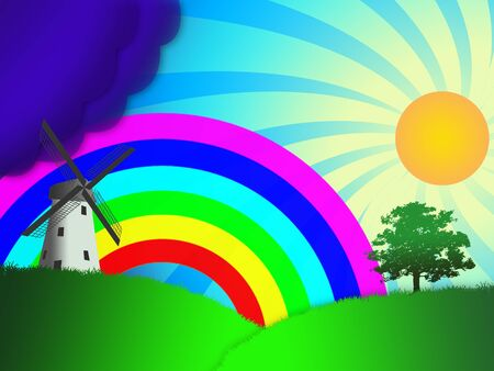 raibow: The illustration rural landscape with windmills and rainbows
