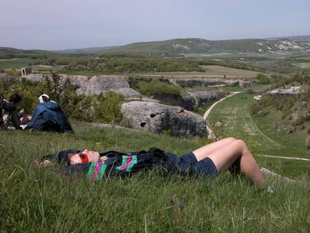 halt: Woman lying at long-awaited halt in mountain