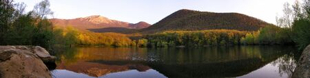 Crimea. Mountain lake panoramic view. Sunrise. Stock Photo - 835356
