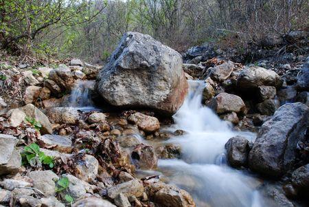 Waterfall in green mountain landscape Stock Photo - 988685