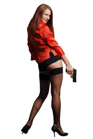 Women in red with big black gun Stock Photo - 1737862
