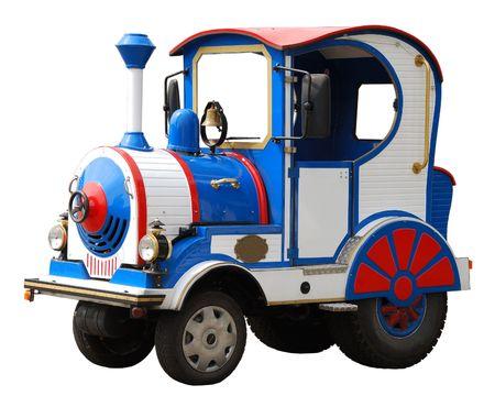 白い背景で隔離された機関車、大きなの電気おもちゃ