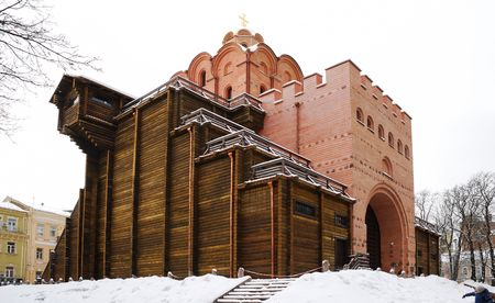 Golden Gate. Kiev. The tower restored with fragment of ancient masonry under fortified medieval gate photo