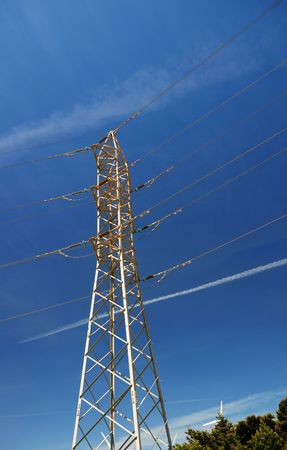 tangent: Metallic electricity power tangent tower blue sky