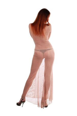 Long-haired girl in gauzy flesh-colored dress, left leg set aside, rear view, isolated on white Stock Photo - 3724541
