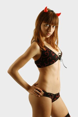 seminude: Seminude donna sexy in costume, significativo guardare