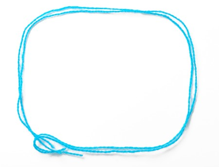 Blue frame is made with fibers for knitting. It is empty and isolated on white.