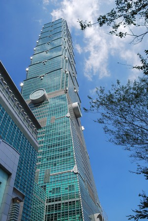 tallest: The tallest Taiwans building is photographed from below.