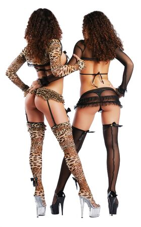 Two strippers are standing back and hugging. Her legs is planted apart on high stiletto heels. The attractive twins are photographed from behind. They are wearing sexy stocking, girdle and lingerie decorated with bows.