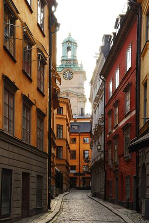 Narrow old-fashioned street of Stockholm.
