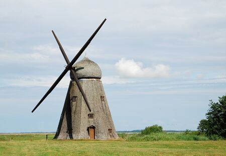 Old wood windmill is famous landmark of the Netherlands. Stok Fotoğraf