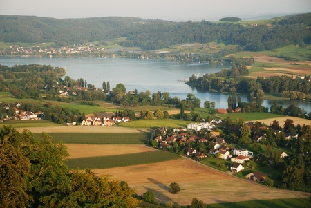 Stein am Rhein is situated at the end of Untersee. The river Rhine is flown from the lake Constance in this place. The picturesque environs are photographed from above. Stok Fotoğraf