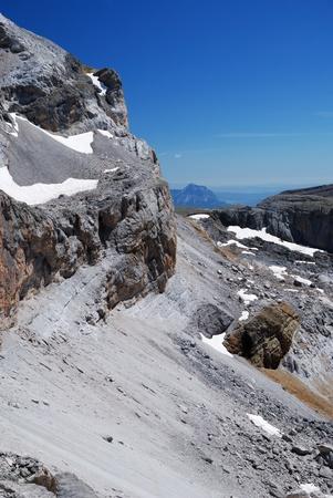 The cirque de Gavarnie is a large rock amphitheater. The cirque Stock Photo - 12351934