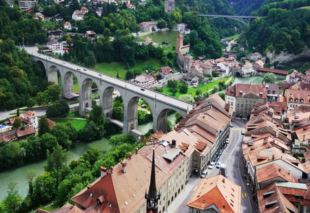 Fribourg on a small rocky hill above the valley of the Sarine.