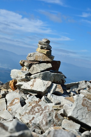 manually: The stony pile is manually done in the middle of moraine on peak of mountain