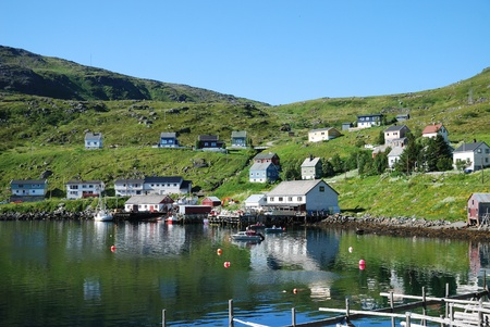 Fishing village is located on the shore of the blue fjord. Soroya is photographed in summer. There are wooden houses on the green mossy hill, a small pier with several boats and racks for dried cod.  photo