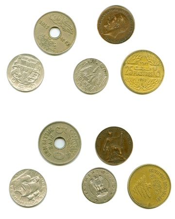 both sides: Several obsolete coins are separately by both sides on the white background.