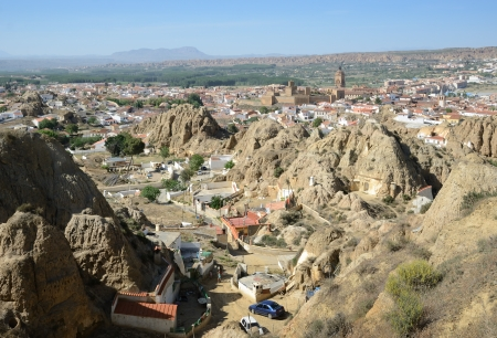 Guadix is famous for the Troglodyte Quarter  Barrio de Santiago Stok Fotoğraf