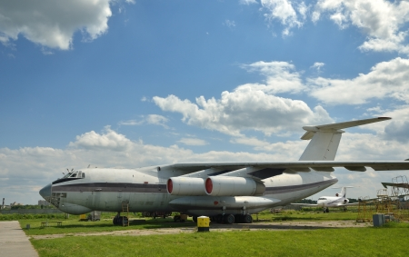 aerodrome: A cargo aircraft is in the aerodrome against the sky. Stock Photo