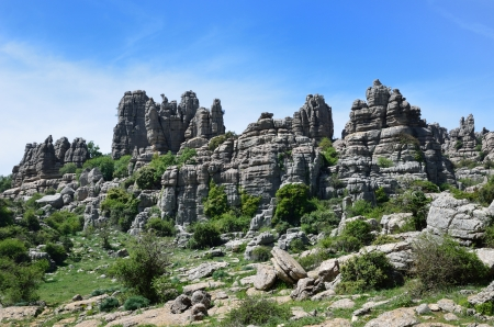 landforms: El Torcal de Antequera is known for its unusual landforms and is one of the most impressive karst landscapes. Stock Photo