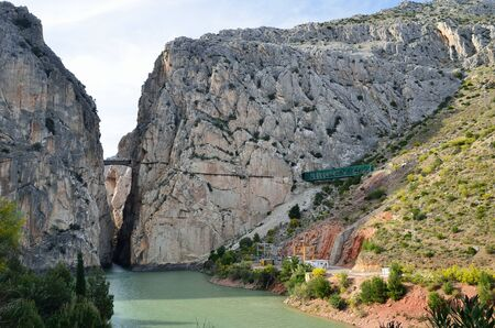 dean lake: The gorge is famous for the very dangerous path called Camino del Rey. Stock Photo