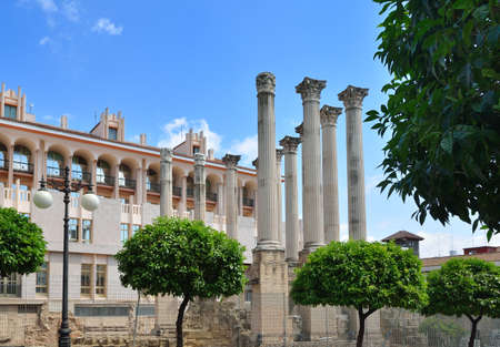 regenerated: The Spanish city of Cordoba has remains of a Roman temple  It was discovered in the 1950s during the expansion of City Hall  Stock Photo