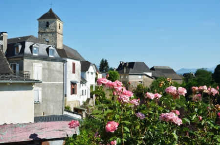pays: Ancient town is photographed in the French Basque country  Stock Photo