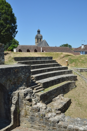 retrieved: The existence of Navarrenx can be traced from the first century of the Christian era  This town has ancient Roman ruins restored partly  Stock Photo